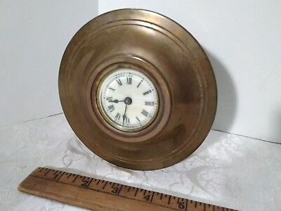 OLD ANTIQUE ANSONIA SMALL SHELF BRASS MANTLE CLOCK, patent May 3, 1892
