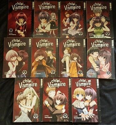 Lot of 11 Chibi Vampire Manga  vol. 1-8 13,14 Airmail in English Yuna Kagesaki