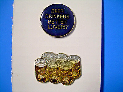 Old Milwaukee Beer Vintage Pin 6 pack and Beer Drinkers Pin from the 80's