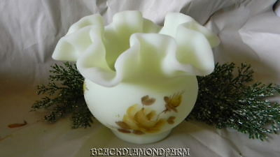 Fenton Lime Custard Rose Vase  Hand Painted * Louise Piper*