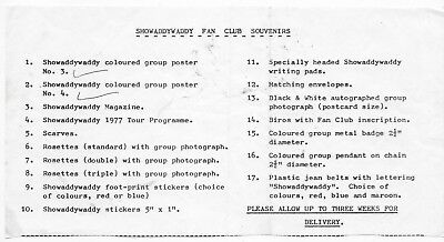 Early 80's Showaddywaddy Fan Club Souvenirs List.