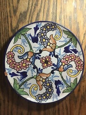 Vintage Pueblo Mexico Hand Crafted Pottery Plate Matte Glaze ~ Signed~