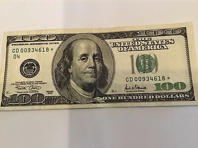 2001 $100 Dollar Bill  US Currency Banknotes STAR NOTE, GOODCONDITION!