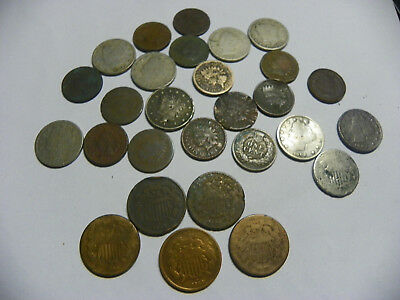 FIVE Two Cent Pieces 2c IN Lot of (28) Low Grade Coins SHIELD INDIAN HEAD
