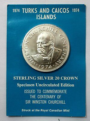 1974 TURKS & CAICOS Islands Sterling Silver Winston Churchill 20 Crown Coin