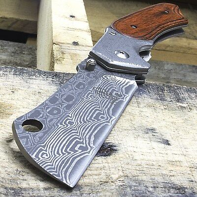 "8"" Damascus Style Cleaver Blade Spring Assisted Folding Wood Pocket Knife Edc"