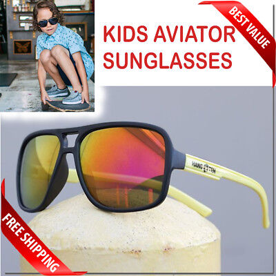 Kids Aviator Sunglasses Age 7 - 14 Junior Size Polarized Option With Pouch New