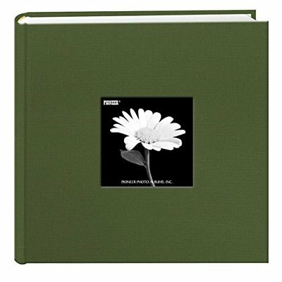 Fabric Frame Cover Photo Album 200 Pockets Hold 4x6 Photos, Herbal Green