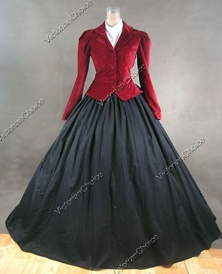 Victorian Dickens Christmas Caroler Carol Holiday Gown Dress Theater RED 166 M