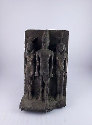 ANCIENT EGYPTIAN STATUE STONE black Osiris and Nephthys and Isis 1375 Bc