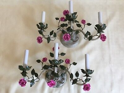 Vintage Pair Shabby French Country 3 Candle Tole Roses Flower Sconces