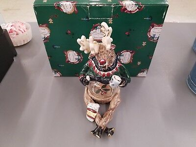 "Blue Sky ""hot Cocoa"" Reindeer Hurricane Lamp New In Box Heather Goldminc 2000"