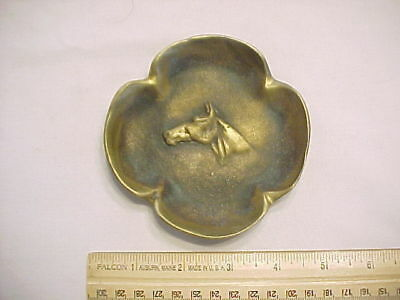 Vintage Solid Bronze Virginia Metal Crafters Horse Head Four Leaf Clover Ashtray