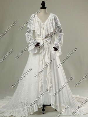 Edwardian Victorian Open Lace Vintage Wedding Bridal Robe Dress w/ Train C049 L