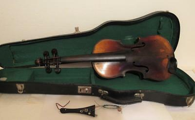 """Antique Violin Inlay Back 4/4 full size 23 3/8"""" long with Case needs restoration"""