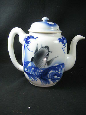 ANTIQUE JAPANESE MEIJI ERA (c.1890) HAND CAST IMARI TEA POT KOI CARP  MOON