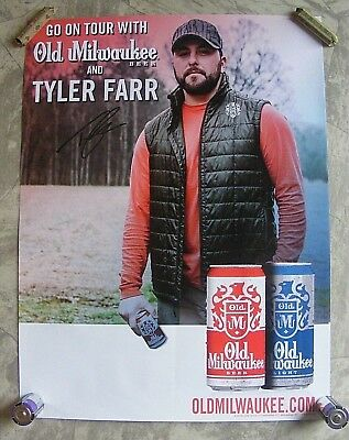 "RARE Tyler Farr Old Milwaukee Beer Concert Tour Poster 24"" x 18"" NEW !"