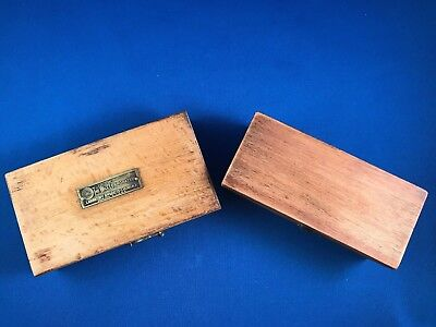 Antique Brass Apothecary Medical Balance Weights In Primitive Wood Block Boxes