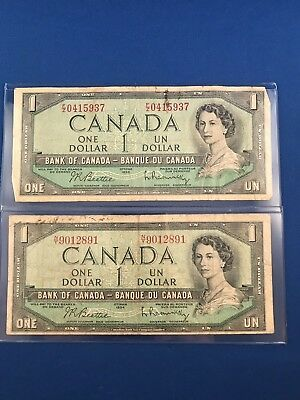 Lot Of 2 CANADA 1 Dollar DEVILs FACE/HEAD??  Note 1954 COYNE/TOWERS Some folds