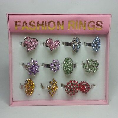 12 women jewelry rings adjustable to any size new in box Girls Jewelry Crystals