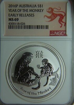 2016 Australia $1 Year of the Monkey - Early Release NGC MS69