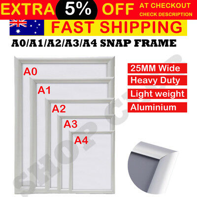 A0 A1 A2 A3 A4 PREMIUM Aluminum Snap poster frame Sign holder wall mount Silver