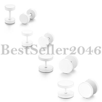 4Pairs Stainless Steel Men Women Barbell White Circle Stud Earrings 6/8/10/12MM