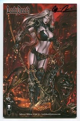 Lady Death Chaos Rules #1 INFERNO Variant Cover by Jesse Wichmann Signed Pulido