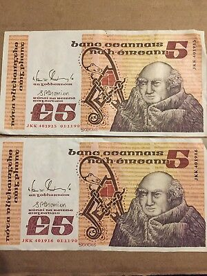 Central Bank Of Ireland £5 Five Pound Note 01-11-90