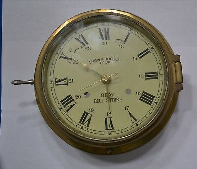 Vintage Solid Brass Case & Clock  Face Only 4 Emory & Douglas 8 Day Bell Strike