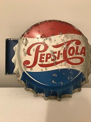 Vintage 1954 Pepsi Cola Painted Metal Double Sided Flange Sign Gas Oil Soda