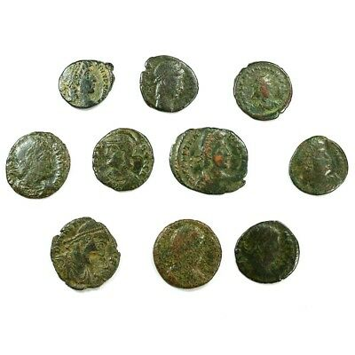 Ten (10) Nicer Ancient Roman Coins c. 100 - 375 A.D. Exact Lot Shown rm3383