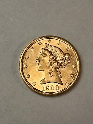 NICE - 1902 S $5 GOLD LIBERTY HEAD Half Eagle, San Francisco Mint  FREE SHIP