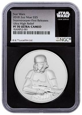 2018 Niue Silver $5 Star Wars Stormtrooper Ultra High Relief PF70 UC FR NGC Coin