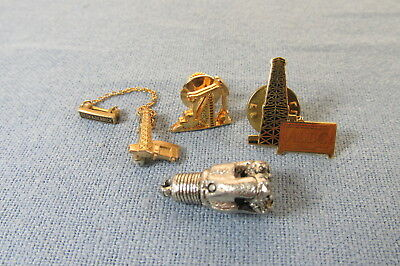 Lot of FOUR Vintage OILFIELD Tie Tacks Lapel Pins and Drill Bit Charm