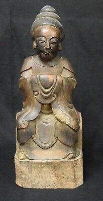 Chinese Sculpted Wood Figure of an Ancestor, 19th C.