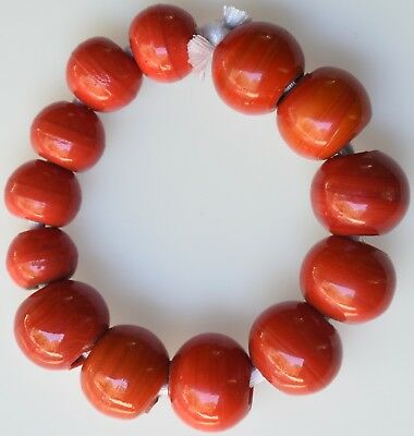 13 Large Red Glass Prosser & Other Beads - African Trade Beads