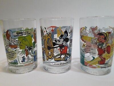VINTAGE 3 DISNEY MCDONALD'S COLLECTOR GLASSES Cups 100 YEAR Anniversary MINT