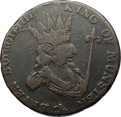1790's ENGLAND MUNSTER Kingdom King Antique Authentic Conder Token Coin i69298