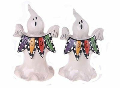 NEW Blue Sky Clayworks Halloween Ghost Boo Salt Pepper Shakers Set Goldminc