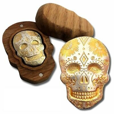 2oz .999 Silver LIMITED EDITION #594 Day of the Dead Skull with 24k Gold & COA