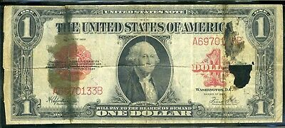 1923 United States One Dollar $1 Red Seal Legal Tender Currency Note Bill Large
