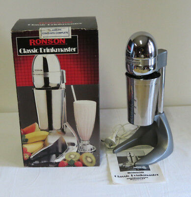Ronson Milk Shake/Drinks Maker - Stainless Steel Housing and Cup/Machine/Blender