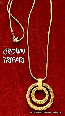 Vintage Crown Trifari Gold Tone Necklace Pendant Snake Chain 2 Circle Twist Rope