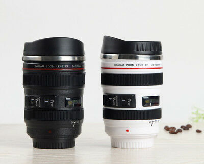 Camera Lens Cup Coffee Travel Mug Thermos Stainless Steel Leak-Proof Lid Gift