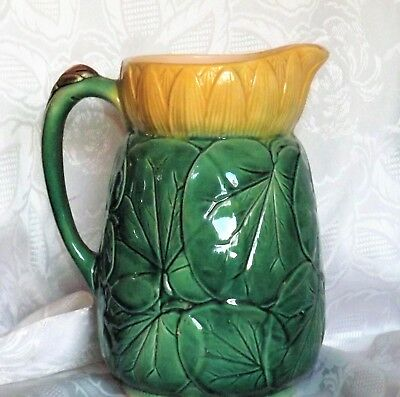 Antique 1800's English Majolica  WATERLILY PITCHER Joseph Holdcroft