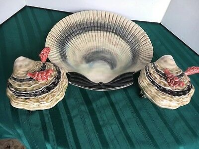 BORDALLO PINHEIRO Scallop Shell Platter Serving Tray & Oyster Bowls w/ Spoons