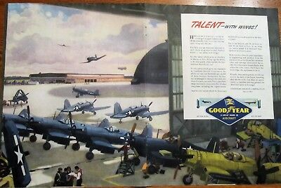 Corsair Fighter Assembly Plant WWII Good Year Ad