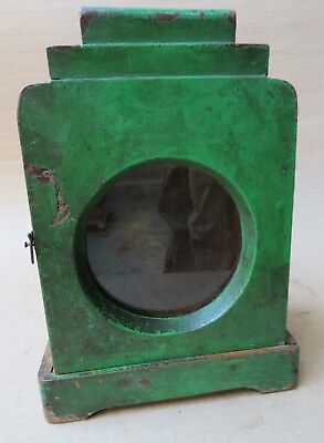 ANTIQUE WOOD CABINET GLASS DOOR MINI DISPLAY SHOWCASE Old TABLE WATCH BOX Green