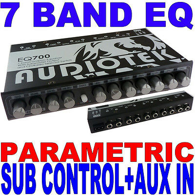 Audiotek 7 Band Parametric Equalizer Eq Car Sub Control Aux Input Indash Eq700